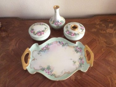 Antique Victorian Limoges Hand Painted Dresser Set, L327