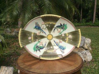 Sublime Antique Wedgwood Birds & Fans Majolica Large Platter c1800's, em53