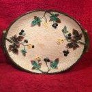 Antique American Majolica Blackberries & Leaves Platter c1882-1910, fm1003