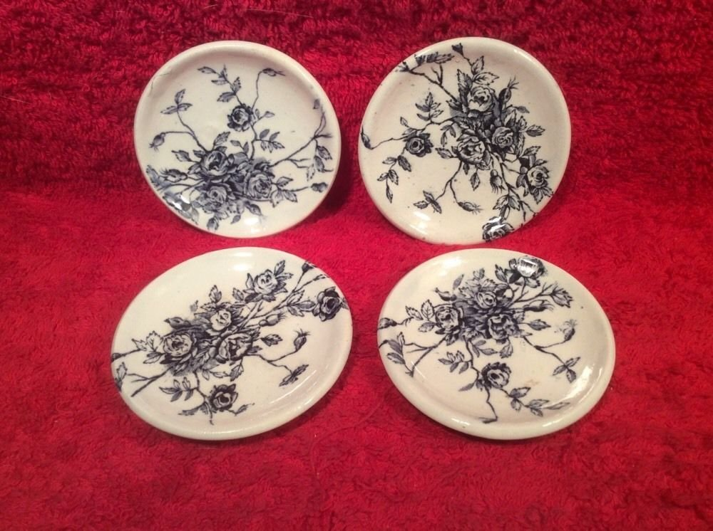 Antique Set of 4 French Faience Rose Floral Butter Pats c.1800's, ff454