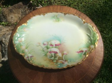 Antique Hand Painted Haviland Limoges Gold w Mushrooms Platter c1894, L336
