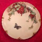 Antique Limoges Red & Green Currants & Butterfly Plate, L263