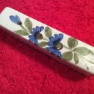 Antique French St. Clement Faience Knife Rest c.1800's Blue Flowers, ff358