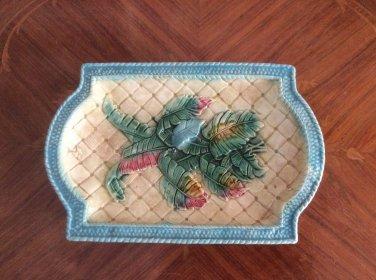Gorgeous Antique Banana Leaves Platter c1800's, fm1011