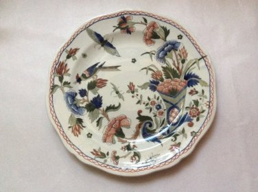 Antique Gien French Faience Handpainted Bird Butterfly Cornucopia Plate c1875, ff397