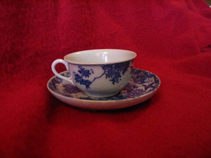 Japanese Tea Cup and Saucer Blue and White cuppatea.ecrater.com