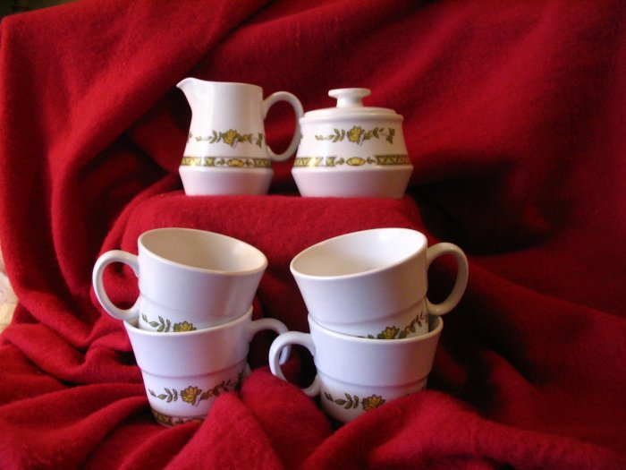 Noritake Creamer Sugar Cups Progression China Shenandoah 9054 www.cuppatea.ecrater.com