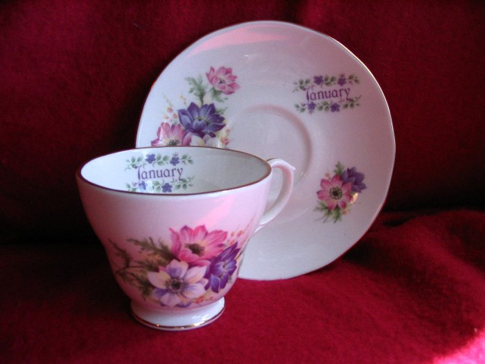 January Tea Cup and Saucer Royal Winchester England cuppatea.ecrater.com