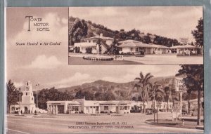 1 - Tower Motor Hotel - Hollywood CA - Vintage Postcard