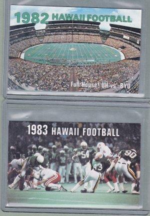University Of Hawaii Football Schedule Cards - 1982 + 1983