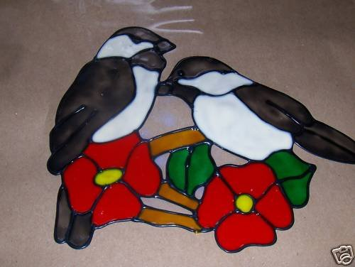 Chickadees Faux Stained Window Cling