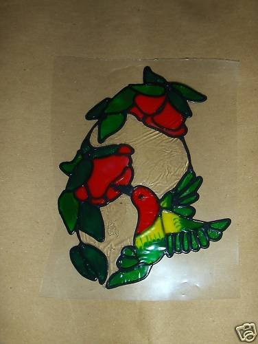 Hummingbird Oval Faux Stained Window Cling