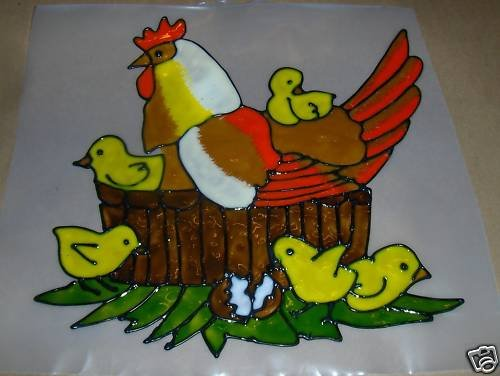 Famliy OF Chickens  Faux Stained Window Cling