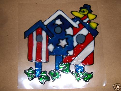 Patriotic Bird House Faux Stained Window Cling