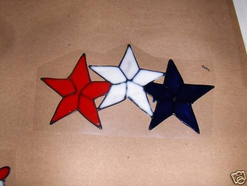 Patriotic  Stars  Faux Stained Window Cling