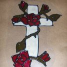 Happy Easter Cross With Roses Faux Stained Window Cling