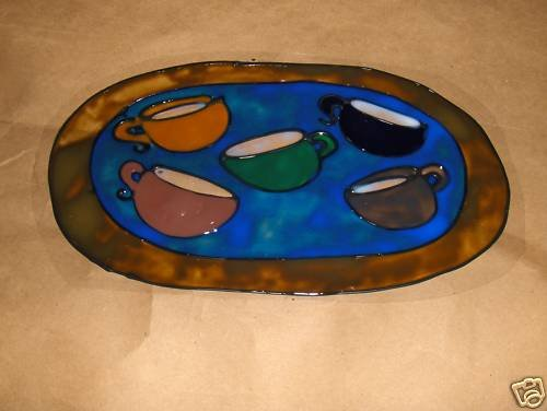 5 Cups  of  Coffee Faux Stained Window Cling