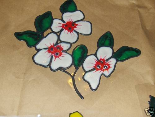 Dogwood  Flower   Faux Stained Window Cling
