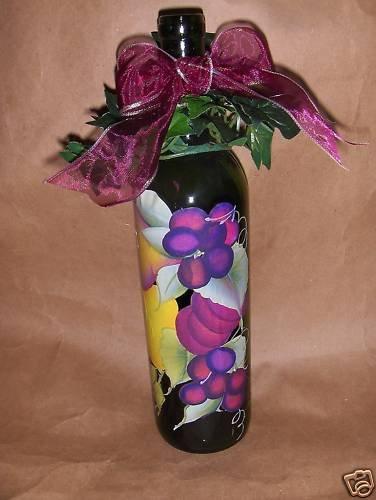 Purple Grapes! Lighted Wine Bottle