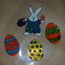 Easter Eggs & Bunny  Faux Stained Window Cling