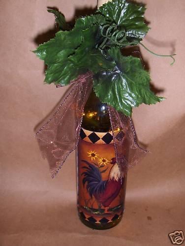Rooster! Lighted Wine Bottle