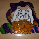 Bunny In A Basket Faux Stained Window Cling