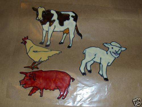 Farm Anamils Faux Stained Window Cling