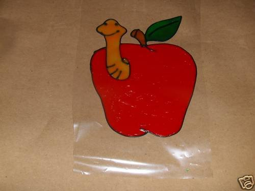 Apple With A Worm  Faux Stained Window Cling