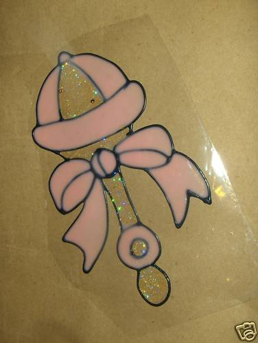 Baby Girls Rattle Faux Stained Window Cling