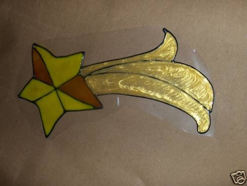 Shooing Stars Faux Stained Window Cling