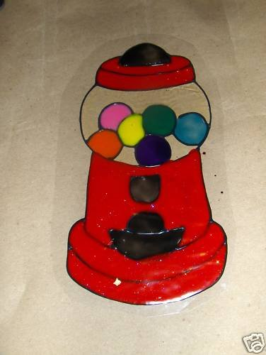 Bubble Gum Machine  Faux Stained Window Cling