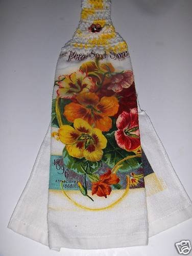 Pansie   Hanging Kitchen Crochet Top Dish Towel
