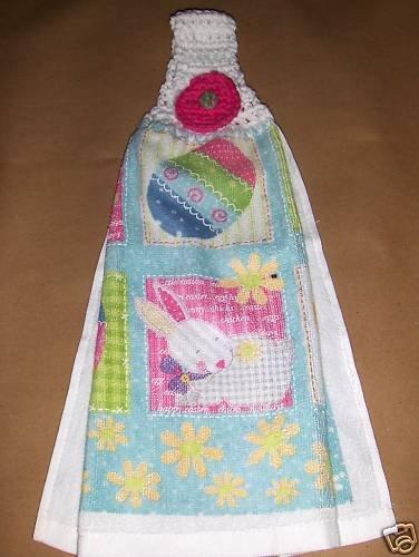 Easter Bunny  Hanging Kitchen Crochet Top Dish Towel