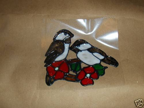 Chickadee Faux Stained Window Cling