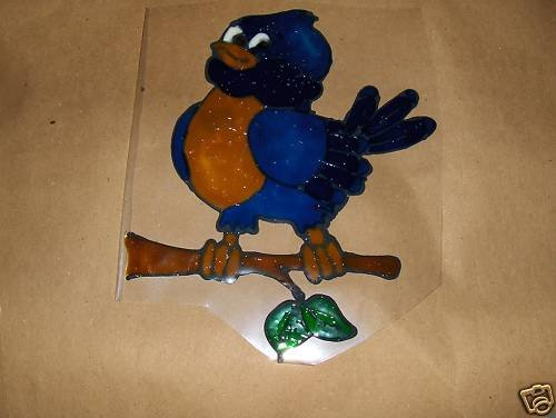 Playful Bluebird Faux Stained Window Cling