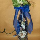 Magnolias & Strawberries Lighted Wine Bottle