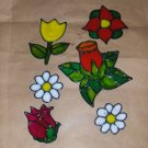 Assortment Of Flowers Faux Stained Window Cling
