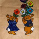 Bunnies Carring Flowers   Faux Stained Window Cling