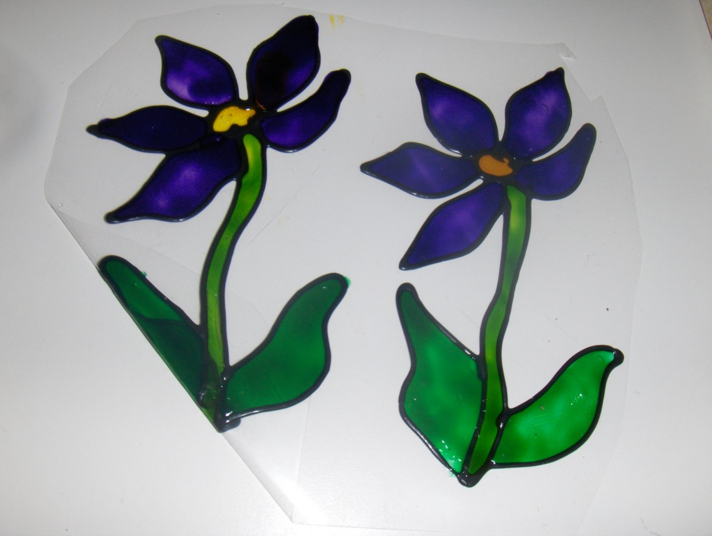 Purple Flower   Faux Stained Window Cling