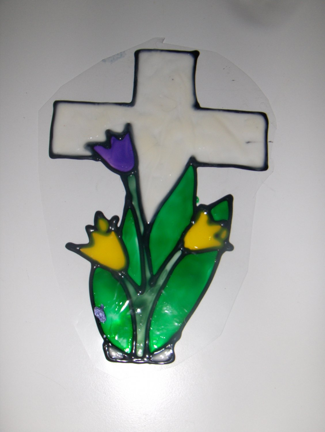Happy Easter Cross With Tulip Faux Stained Window Cling