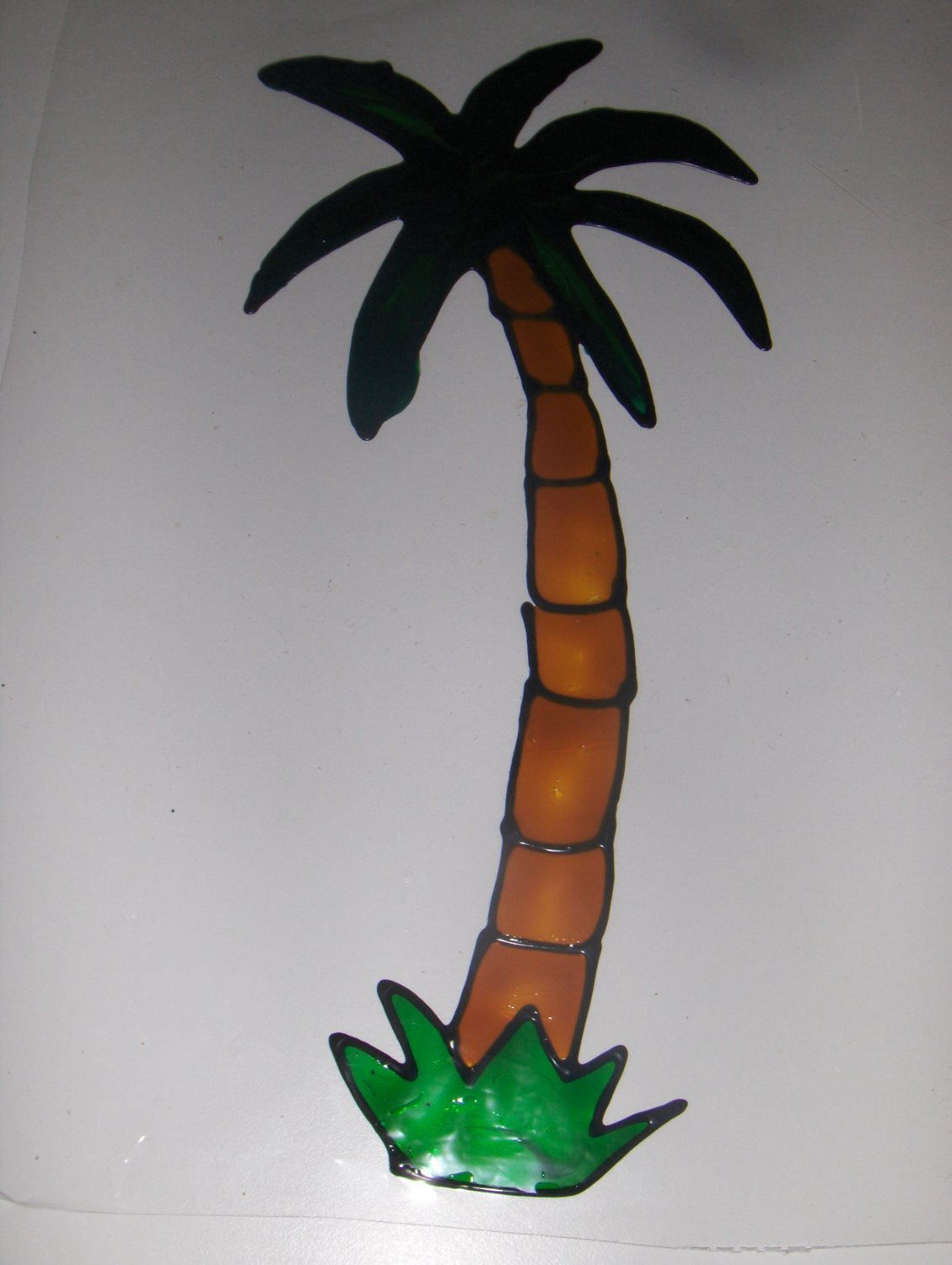 Palm tree Faux Stained Window Cling