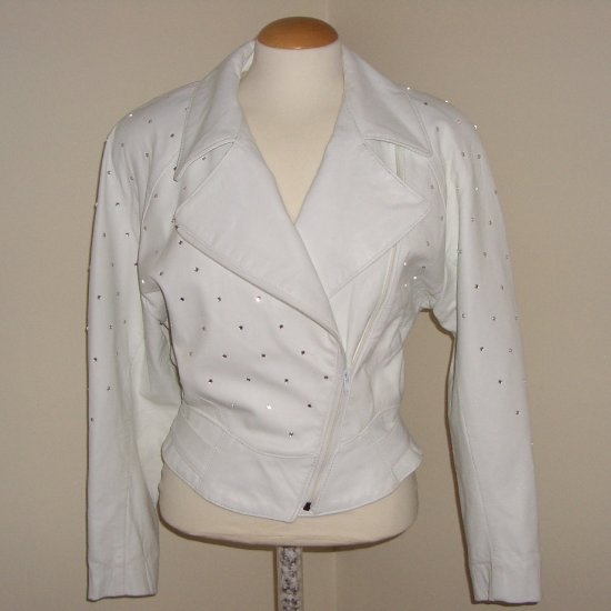 80s White Leather Rhinestone Jacket Biker Style by Phoenix