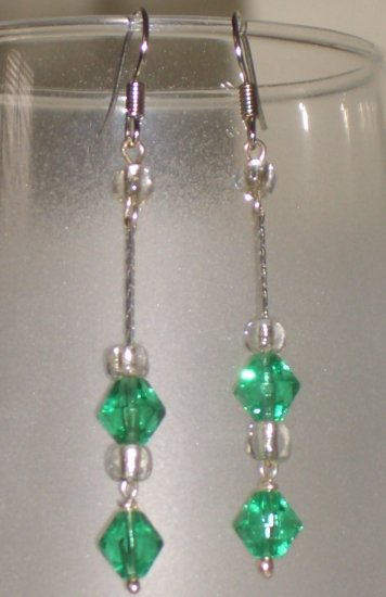 Emerald Chandelier Dangling Hook Earrings Handmade with Silver Tone Chain Glass Beads