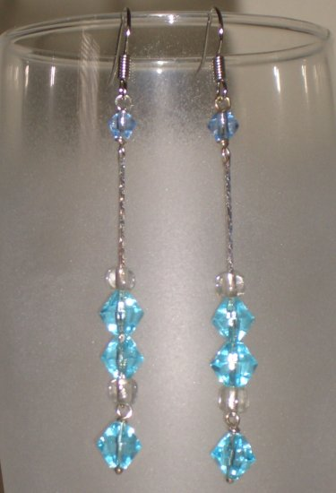 Blue Icicles Dangling Hook Earrings Handmade with Silver Tone Chain Glass Beads
