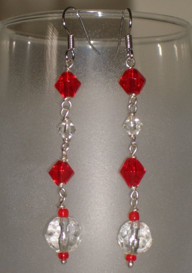 Fire and Ice Glass Chandelier Earrings Handmade from Faceted Beads Silver Tone Hook Dangling Chain