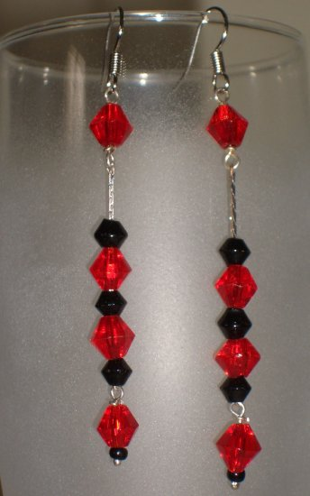 Red and Black Dangle Chandelier Earrings Handmade from Glass Beads Silver Tone Hook Chain