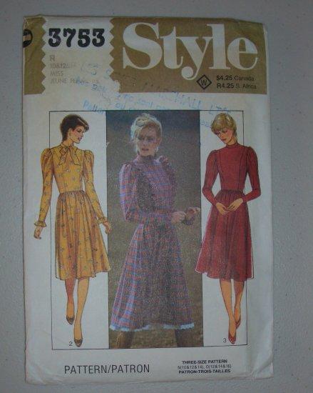 Uncut Style Sewing Pattern 3753 Dress Sz 10-14 Retro 80s Dolly Look Dress