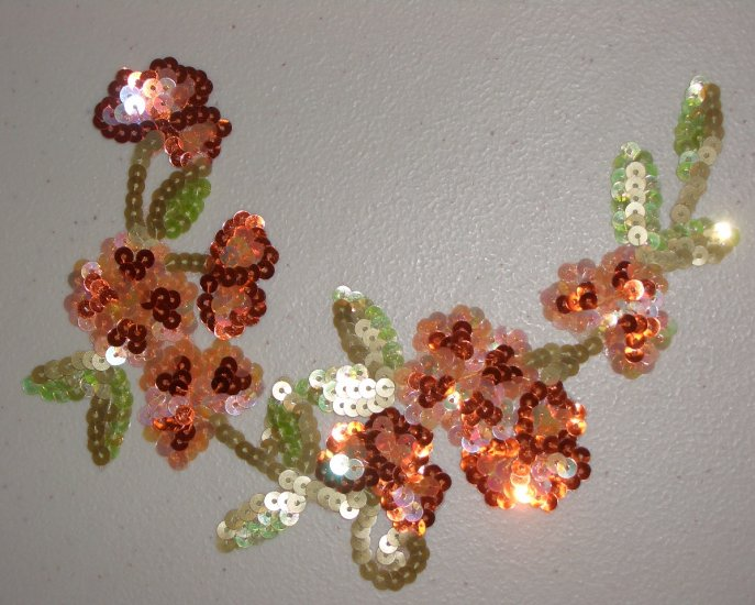 Orange Flowers Iron-on Sequins Applique with Green Leaves for Sewing Crafts