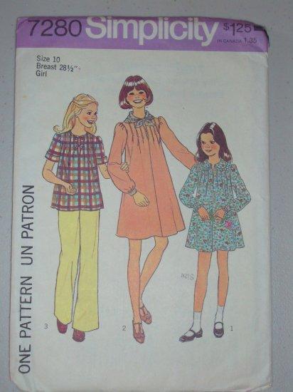 Simplicity Sewing Pattern 7280 Girls' Dress Size 10 Uncut Retro Puff Sleeve Pintuck Dress Top Scarf