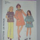 Simplicity Sewing Pattern 7280 Girls' Dress Size 10 Uncut Retro Puff Sleeve Pintuck Dress Top Scarf
